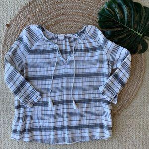 Merona striped boho long sleeve blouse
